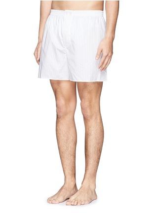 模特儿示范图 - 点击放大 - ZIMMERLI - 暗条纹纯棉平脚内裤