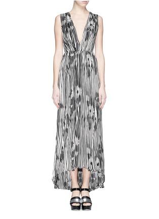 Main View - Click To Enlarge - alice + olivia - 'Lexa' woodgrain print chiffon maxi dress