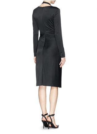 Back View - Click To Enlarge - Alexander Wang  - Front twist stretch crepe satin dress