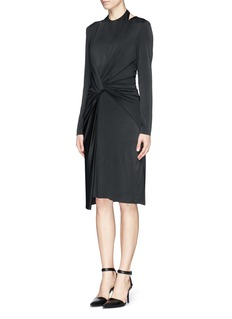 ALEXANDER WANG  Front twist stretch crepe satin dress