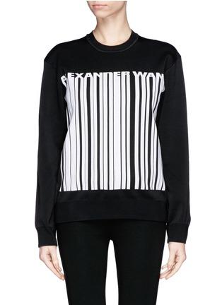 Main View - Click To Enlarge - Alexander Wang  - Barcode logo bonded knit sweatshirt