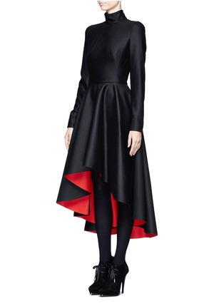 Front View - Click To Enlarge - Alexander McQueen - Mandarin collar high-low dress