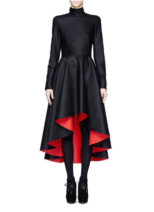 Main View - Click To Enlarge - Alexander McQueen - Mandarin collar high-low dress