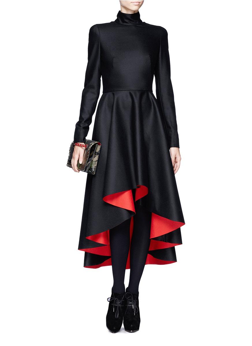 Alexander Mcqueen Mandarin Collar High Low Dress On
