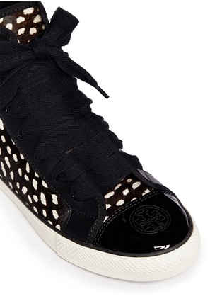 Detail View - Click To Enlarge - Tory Burch - 'Marin' dot calf hair high-top sneakers