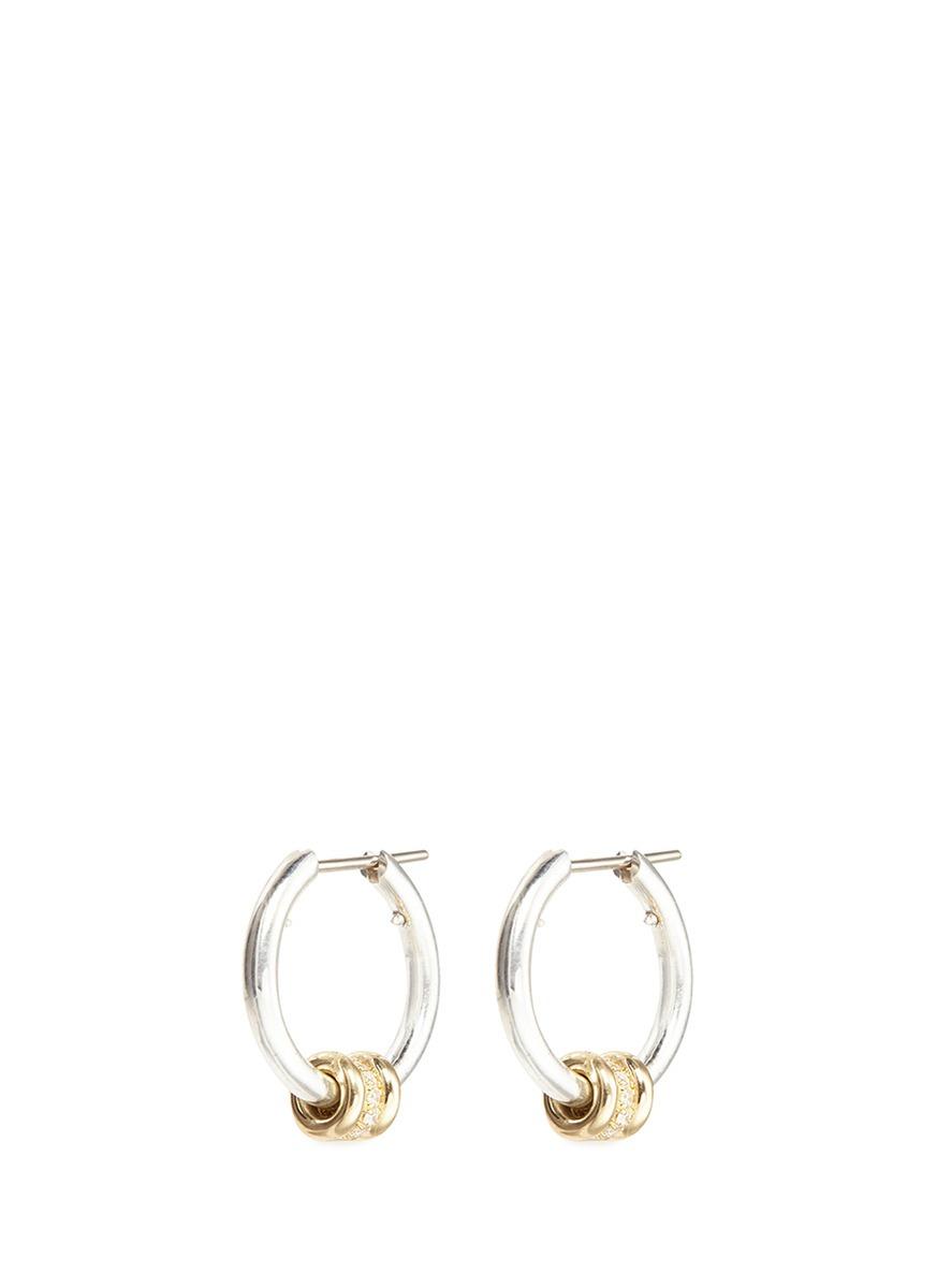 spinelli kilcollin female ara sg diamond 18k yellow gold sterling silver hoop earrings