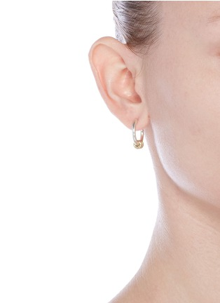 Figure View - Click To Enlarge - Spinelli Kilcollin - 'Ara SG' diamond 18k yellow gold sterling silver hoop earrings