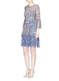 Needle & Thread 'Dragonfly Garden' floral embroidered tulle dress