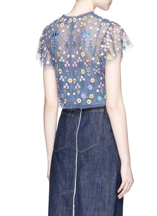 Back View - Click To Enlarge - Needle & Thread - 'Flowerbed' embroidered tulle cropped top