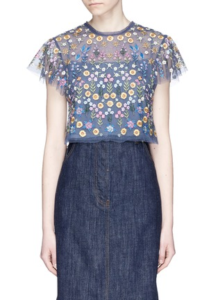 Main View - Click To Enlarge - Needle & Thread - 'Flowerbed' embroidered tulle cropped top