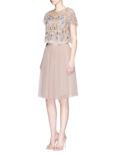 Needle & Thread 'Flowerbed' embroidered tulle cropped top