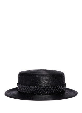 Main View - Click To Enlarge - Gigi Burris Millinery - 'Agnes' woven band coated straw boater hat