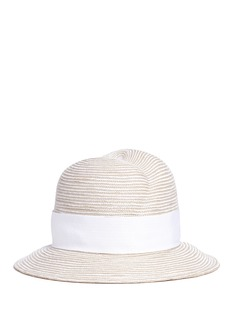 Gigi Burris Millinery'Nell' mother of pearl pin straw fedora hat