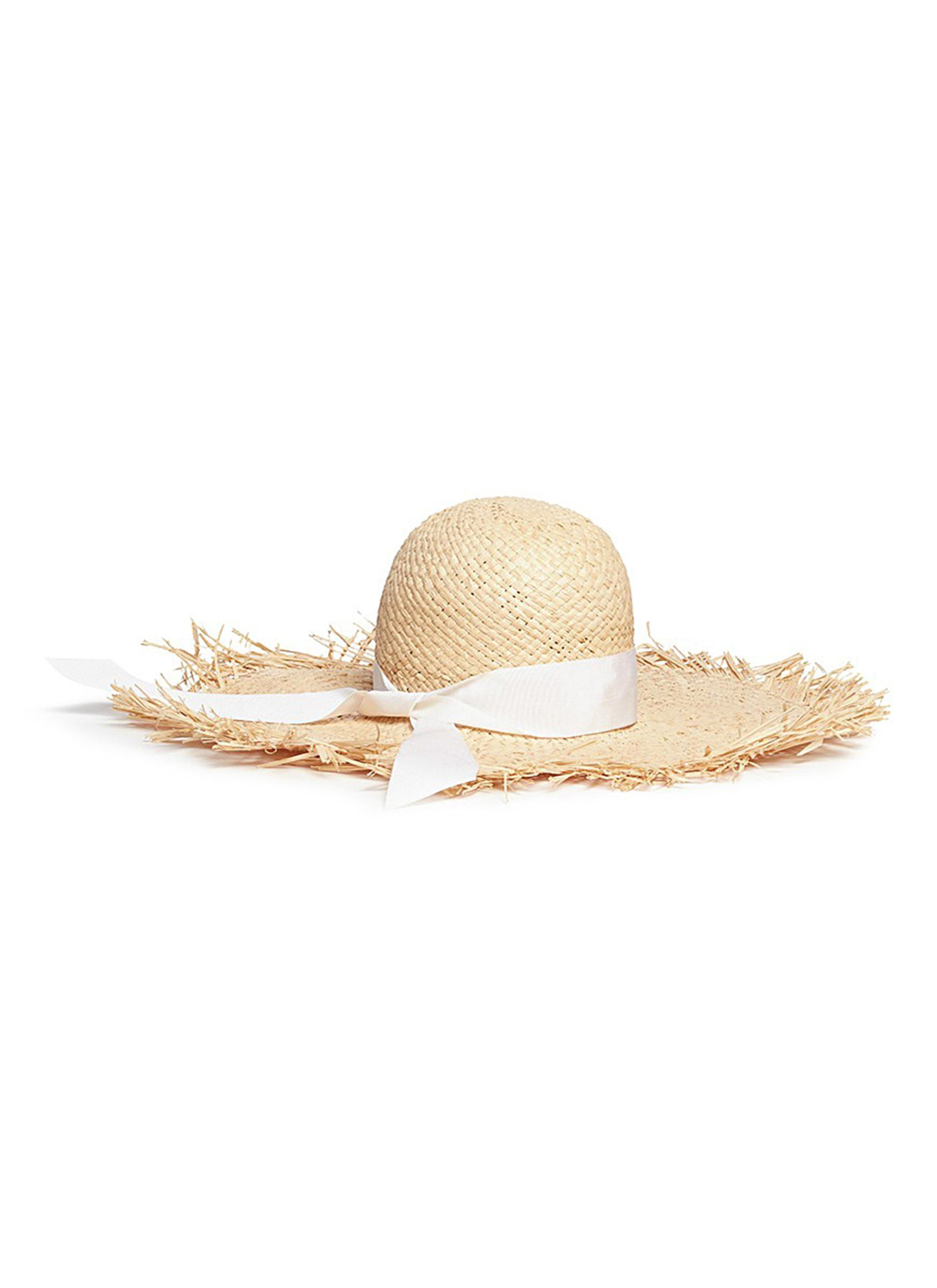 ÉTÉ frayed brim ribbon band raffia straw hat by Gigi Burris Millinery