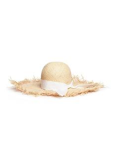 Gigi Burris Millinery'ÉTÉ' frayed brim ribbon band raffia straw hat