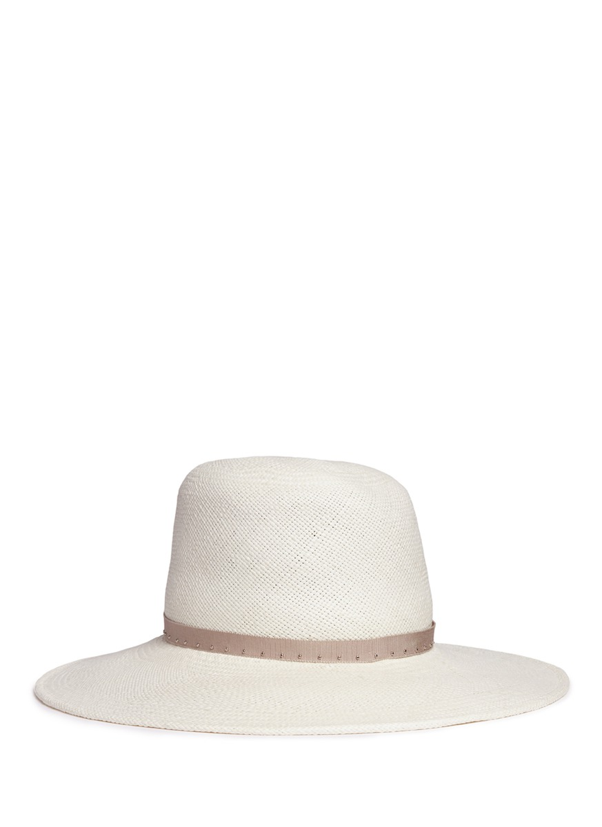 Drake feather stud straw fedora hat by Gigi Burris Millinery