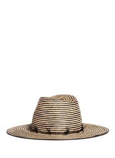 Gigi Burris Millinery'Jeanne' feather trim stripe straw hat