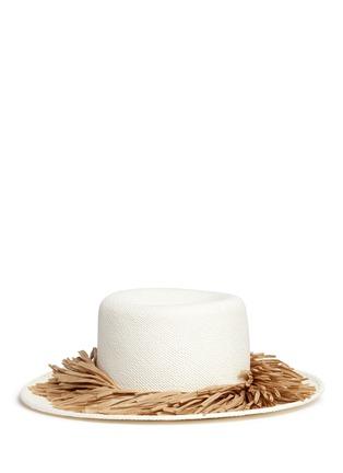 Main View - Click To Enlarge - Gigi Burris Millinery - 'Brigette' raffia fringe panama straw boater hat