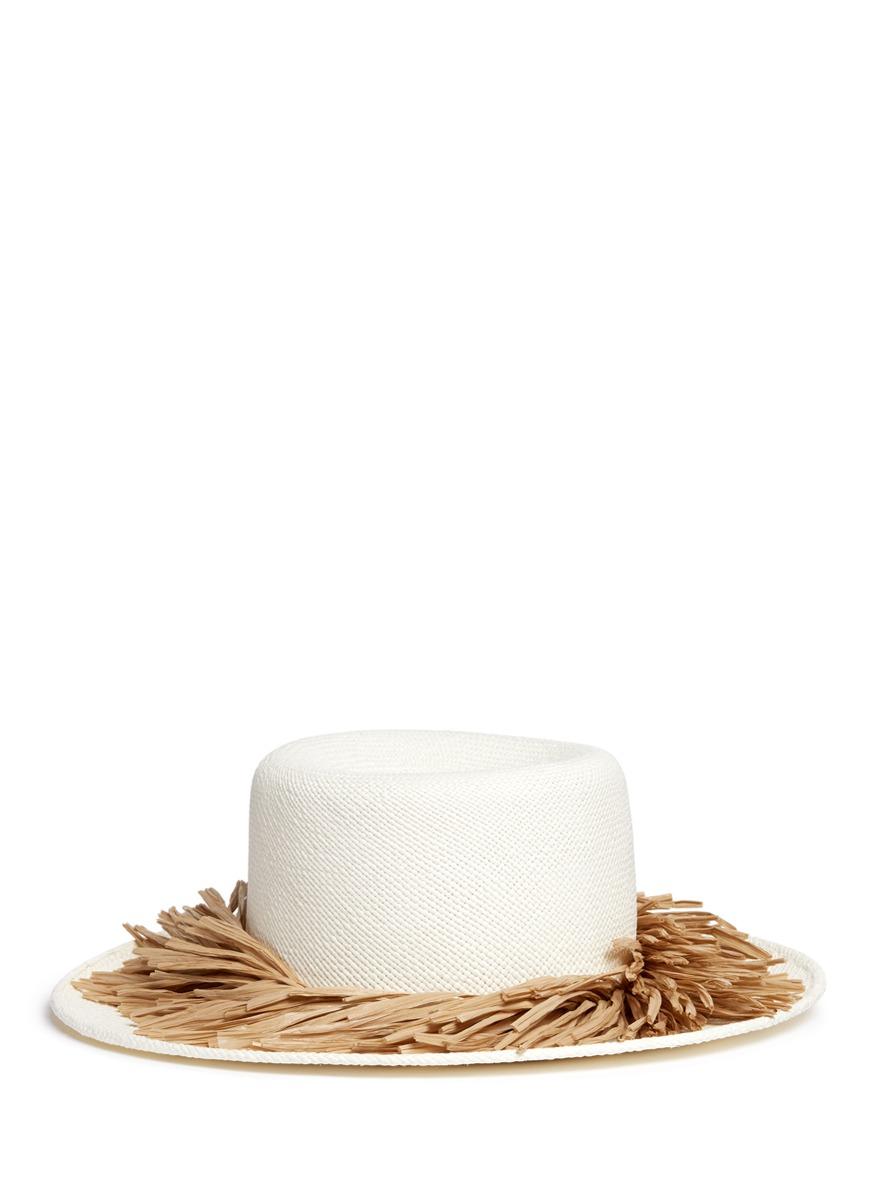 Brigette raffia fringe panama straw boater hat by Gigi Burris Millinery