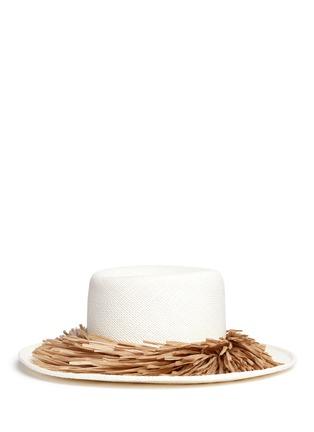 Figure View - Click To Enlarge - Gigi Burris Millinery - 'Brigette' raffia fringe panama straw boater hat
