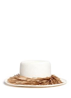 Gigi Burris Millinery'Brigette' raffia fringe panama straw boater hat