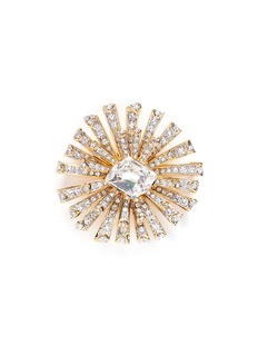 Kenneth Jay Lane Glass crystal gold plated starburst brooch