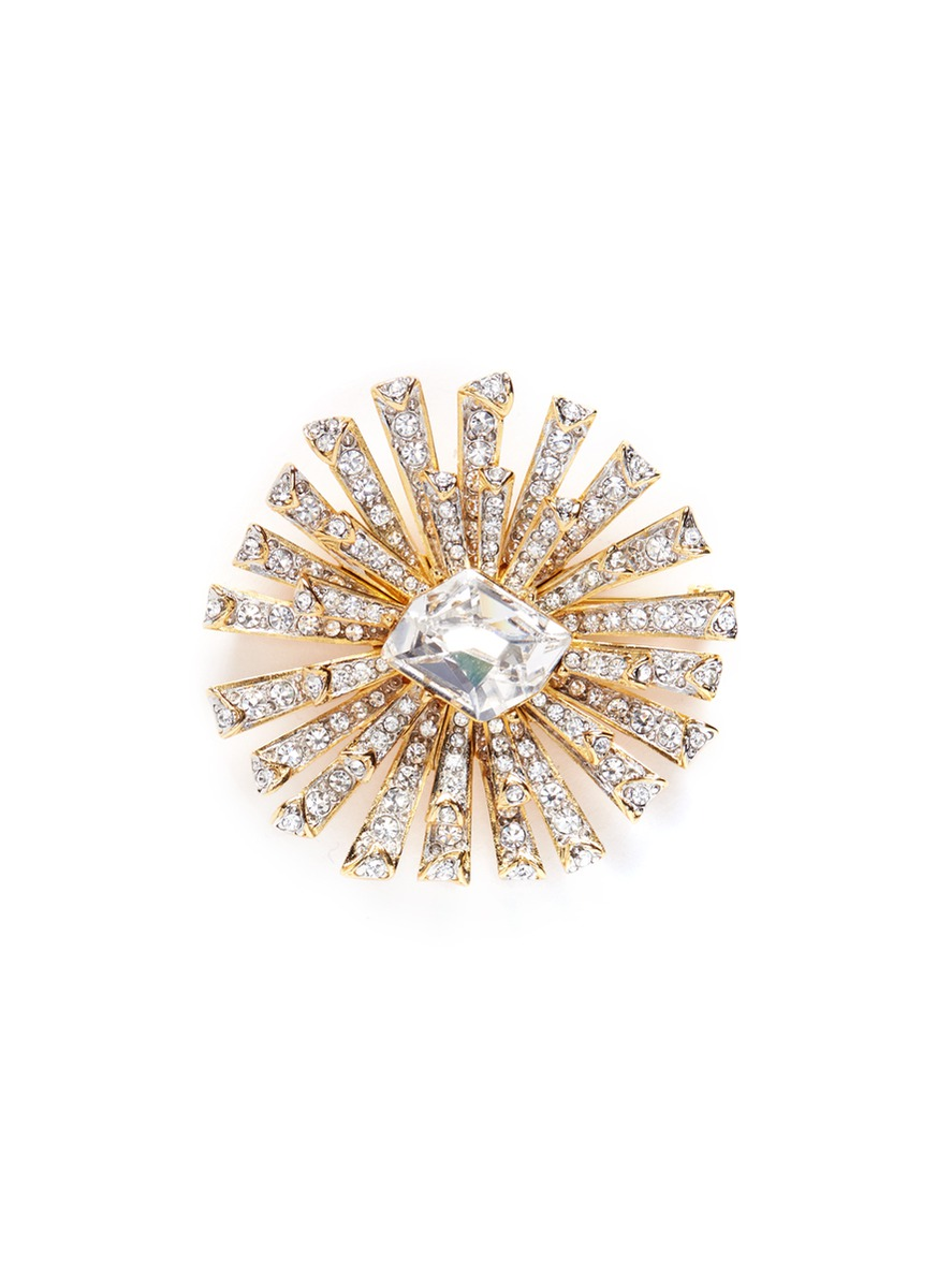 Glass crystal gold plated starburst brooch by Kenneth Jay Lane