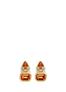 Kenneth Jay Lane Glass stone gold plated hinged drop earrings