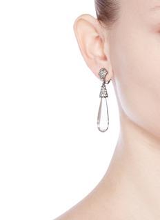 Kenneth Jay LaneGlass crystal pavé resin teardrop clip earrings