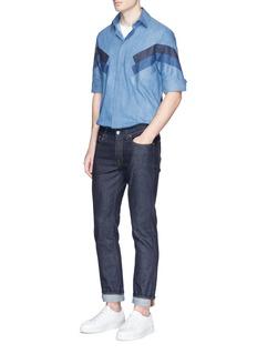 Neil Barrett'Retro Modernist' panel denim shirt