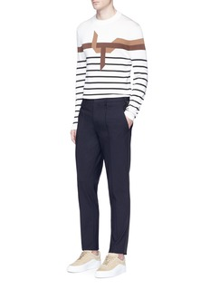 Neil Barrett'Modernist Origami' stripe intarsia sweater