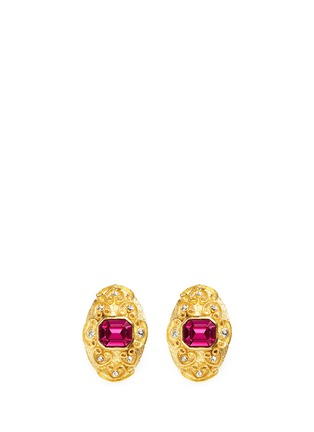Main View - Click To Enlarge - Kenneth Jay Lane - Glass stone swirl filigree gold plated clip earrings