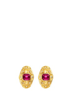 Kenneth Jay Lane Glass stone swirl filigree gold plated clip earrings
