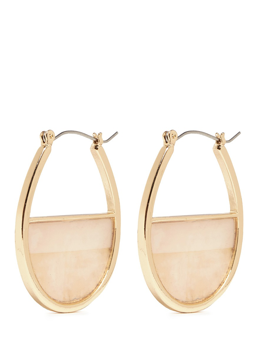Marbled plate gold plated hoop earrings by Kenneth Jay Lane