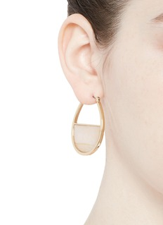 Kenneth Jay Lane Marbled plate gold plated hoop earrings