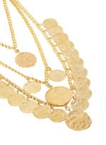 Coin charm tiered gold plated necklace