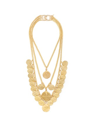 Main View - Click To Enlarge - Kenneth Jay Lane - Coin charm tiered gold plated necklace