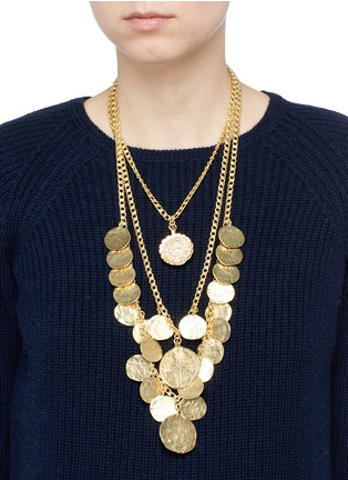 Figure View - Click To Enlarge - Kenneth Jay Lane - Coin charm tiered gold plated necklace
