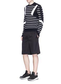 Neil BarrettElastic waist cupro blend shorts