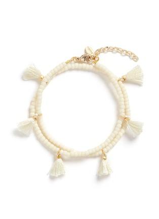 Main View - Click To Enlarge - Shashi - 'Laila' tassel beaded double wrap bracelet