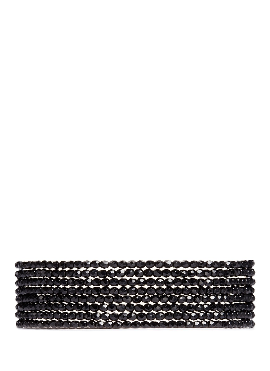 kenneth jay lane female tiered beaded collar necklace
