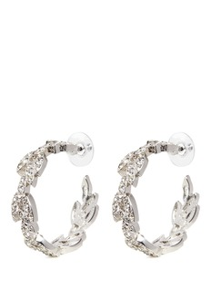 Kenneth Jay Lane Glass crystal pavé leaf wreath hoop earrings