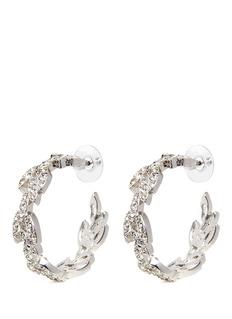 Kenneth Jay LaneGlass crystal pavé leaf wreath hoop earrings