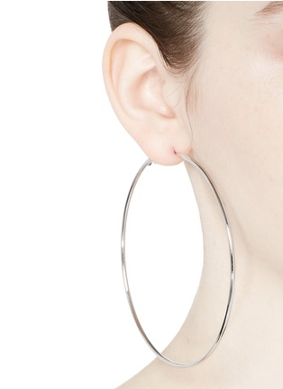 Figure View - Click To Enlarge - Kenneth Jay Lane - Rhodium plated large hoop earrings