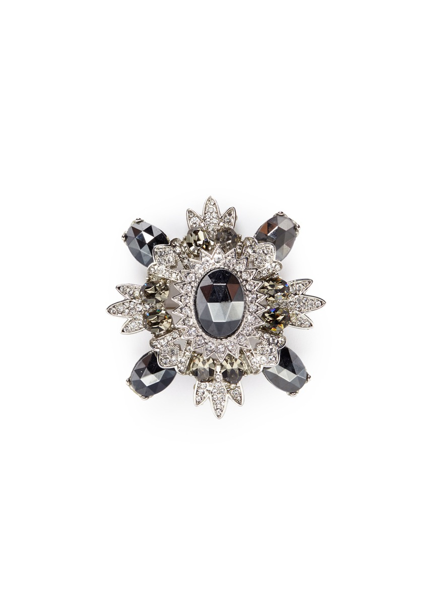 Glass crystal rhodium plated brooch by Kenneth Jay Lane