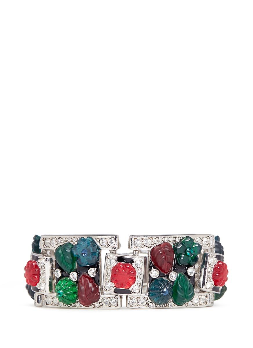 kenneth jay lane female floral glass crystal pave enamelled bracelet