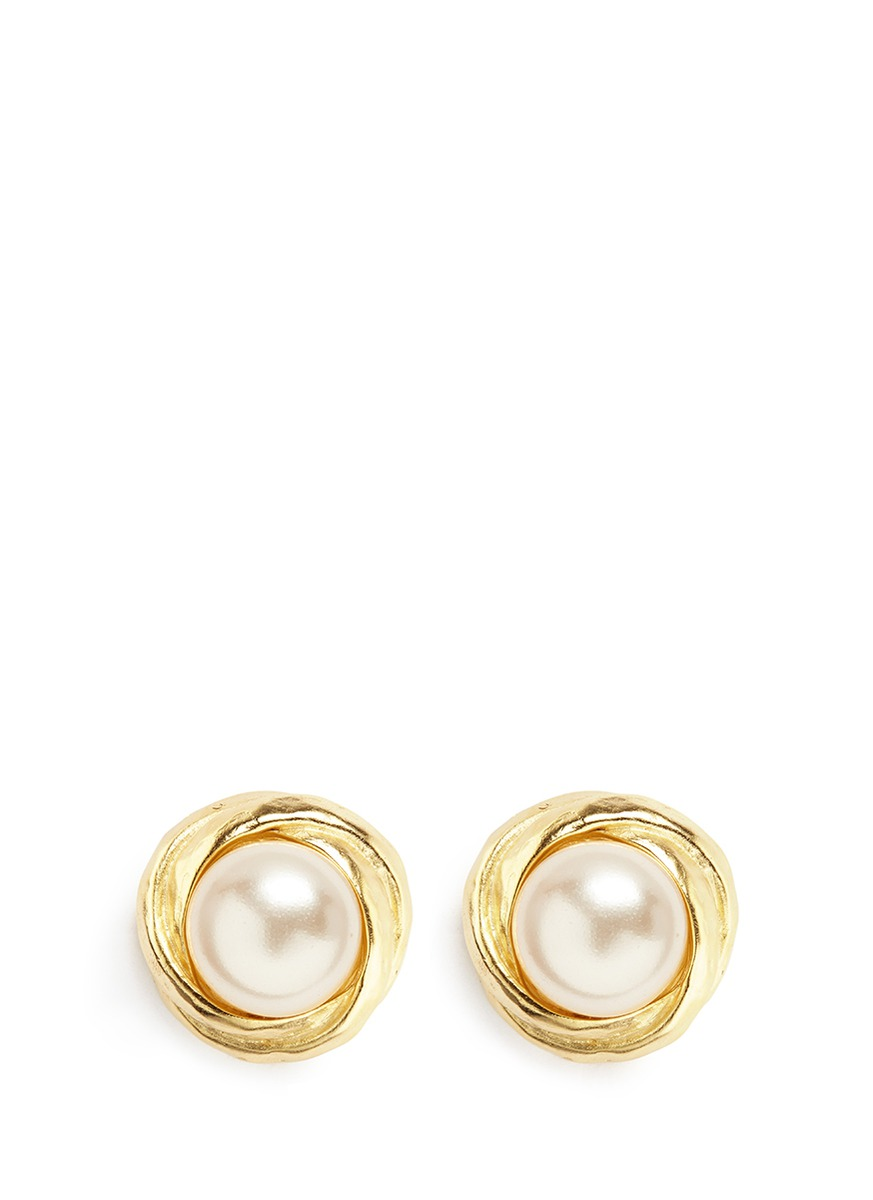Gold plated frame glass pearl clip earrings by Kenneth Jay Lane