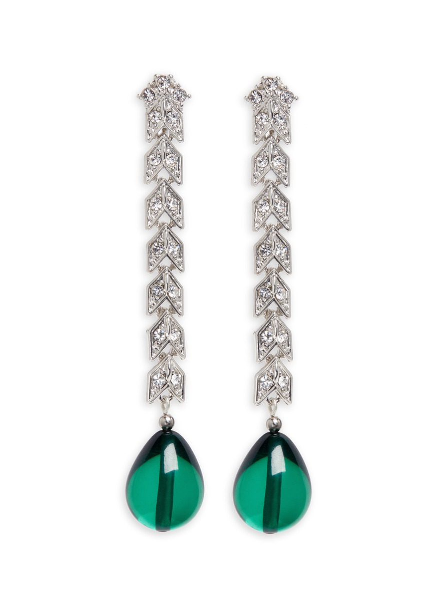 Pear drop glass crystal pavé chain earrings by Kenneth Jay Lane