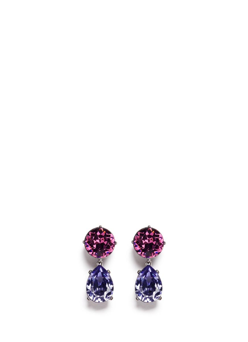 kenneth jay lane female glass crystal pear drop clip earrings