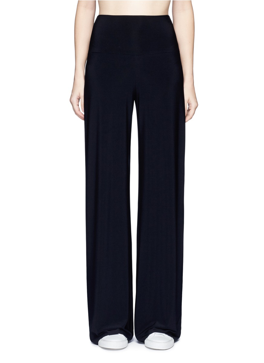 Stretch jersey wide leg pants by Norma Kamali